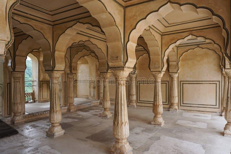 Fortificazione ambrata a Jaipur, India fotografia stock libera da diritti