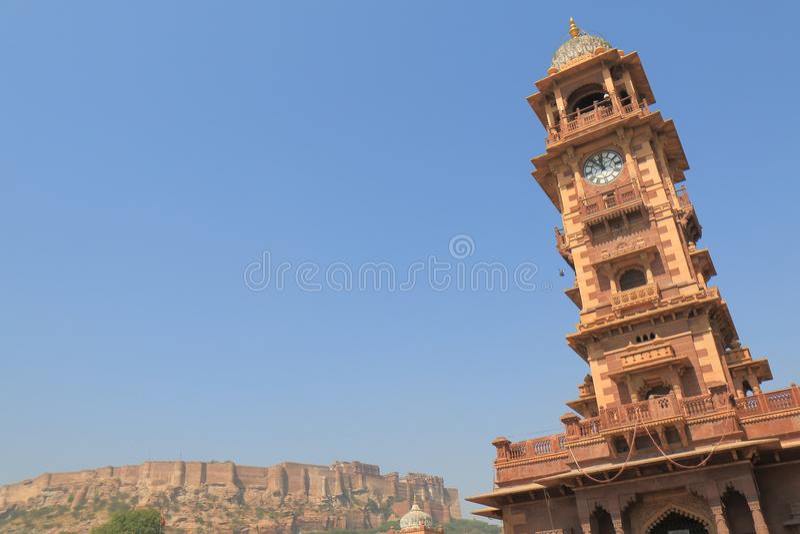 Fortificazione di Mehrangarh e torre di orologio Jodhpur India fotografia stock