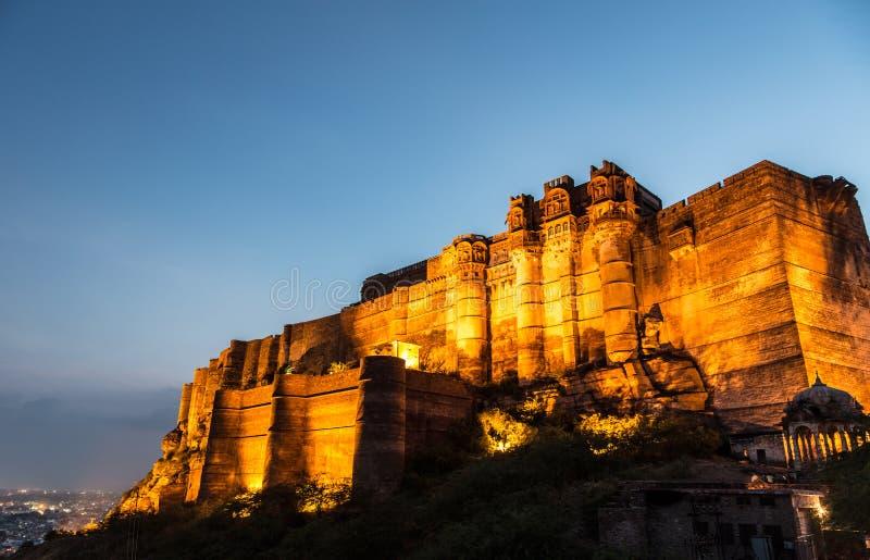 Fortificazione di Mehrangarh a Jodhpur, Ragiastan immagini stock libere da diritti