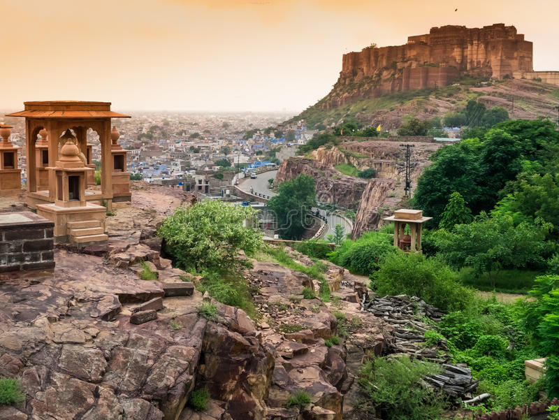 Fortificazione di Mehrangarh, Jodhpur, Ragiastan, India fotografia stock