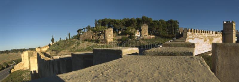 Fortificazioni della mussola di Badajoz panoramiche fotografie stock libere da diritti