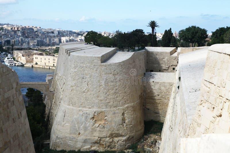 Fortificazioni intorno a Valletta fotografia stock libera da diritti
