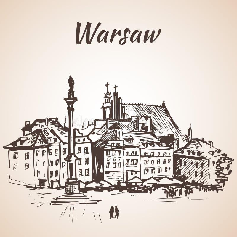 Fortifichi il quadrato nel vecchio quarto di Varsavia, Polonia abbozzo Isolante illustrazione di stock