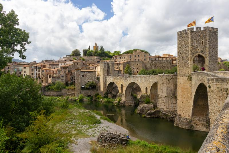 Fortified bridge to Besal stock photography