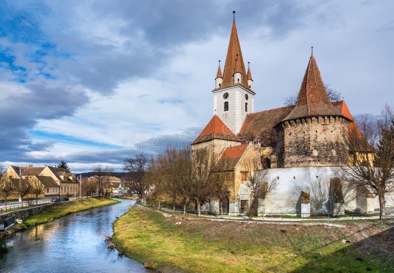 Fortified church of Cristian,Sibiu, Romania stock images