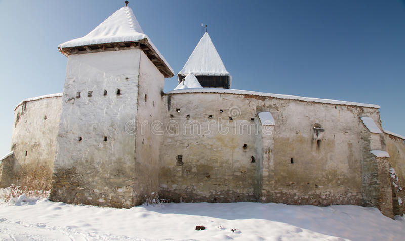 Fortified church of Hosman, Transylvania stock photos