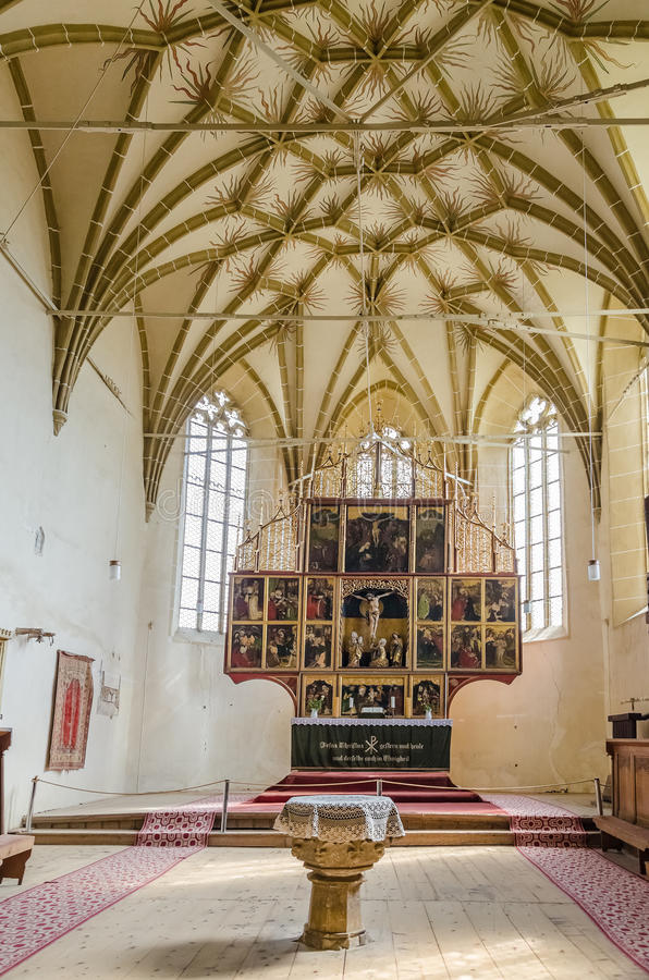 Download Fortified Church Interior In Transylvania Stock Photo
