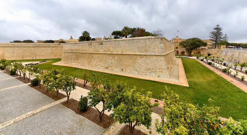 Fortified city walls, Mdina, Malta stock photography
