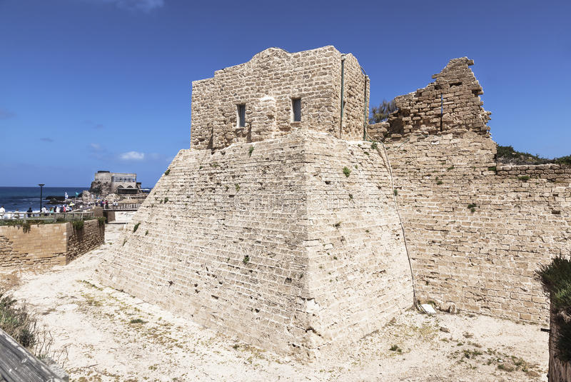 Fortified Crusader City in the National Archaeological Park Caesarea. Israel stock image