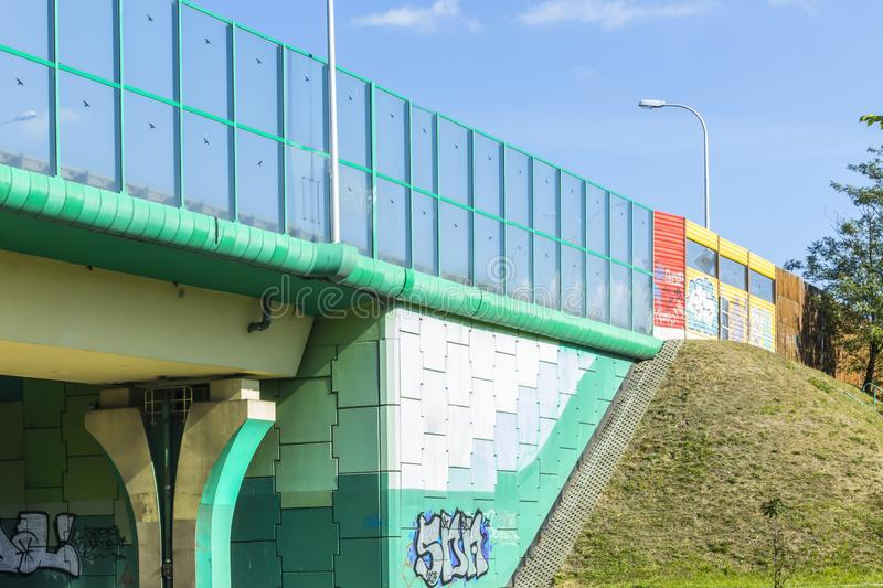 Sound absorbing screens on the highway and overpass,colored concrete pillars . stock image