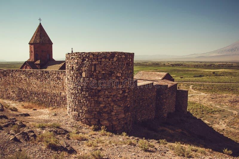 Fortified Khor Virap Monastery. Exploring Armenia. Armenian architecture. Tourism and travel concept. Religious landmark. Tourist royalty free stock photo