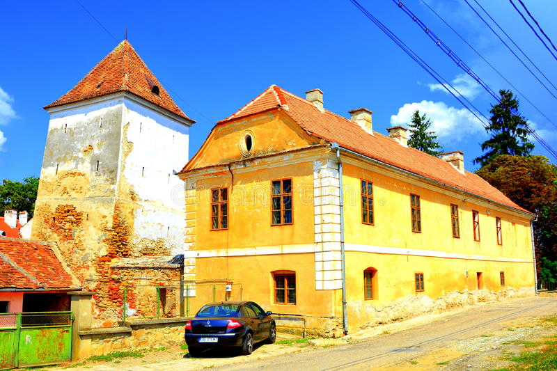 Fortified medieval saxon evangelic church in Agnita- Agnetheln, Transilvania, Romania. Fortified medieval saxon evangelic church in Agnita- Agnetheln, mentioned stock images