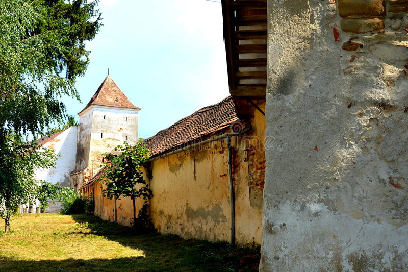 Fortified medieval saxon evangelic church in Agnita- Agnetheln, Transilvania, Romania. Agnita- Agnetheln, mentioned for the first time in a Saxon document from stock images