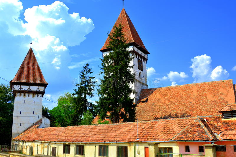 Fortified medieval saxon evangelic church in Agnita- Agnetheln, Transilvania, Romania. Agnita- Agnetheln, mentioned for the first time in a Saxon document from stock photos