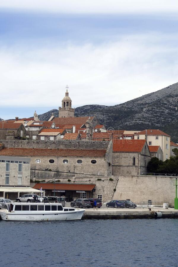 Fortified old town of Korcula. Fortified town of Korcula, approached from the Adriatic Sea,   Croatia royalty free stock photography