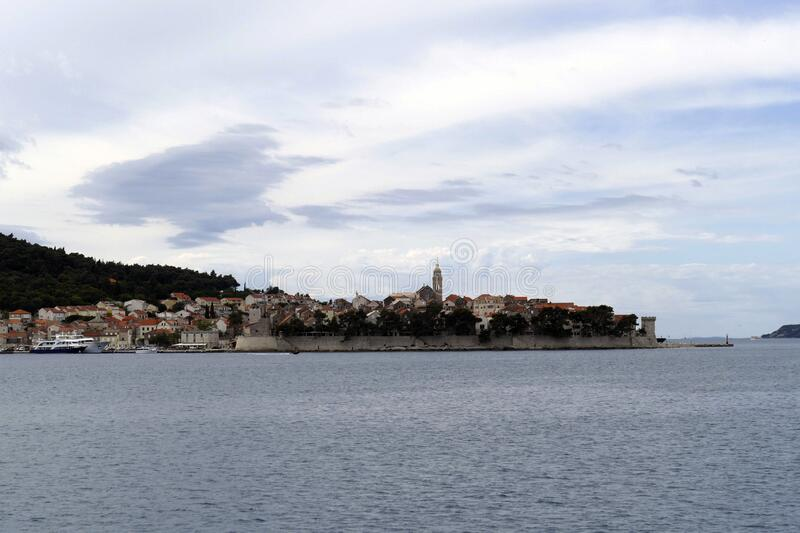 Fortified old town of Korcula. Fortified town of Korcula, approached from the Adriatic Sea,   Croatia royalty free stock photos