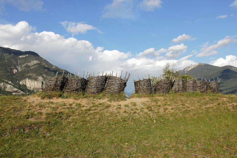 Wickerwork gabions near Fort of Mont-Dauphin, french Hautes Alpes. The fortified town of Mont-Dauphin, built by Vauban from 1693, subsequently altered and stock photo