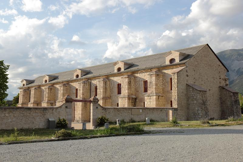 Fort of Mont-Dauphin arsenal in the Hautes Alpes, France. The fortified town of Mont-Dauphin, built by Vauban from 1693, subsequently altered and improved royalty free stock photo