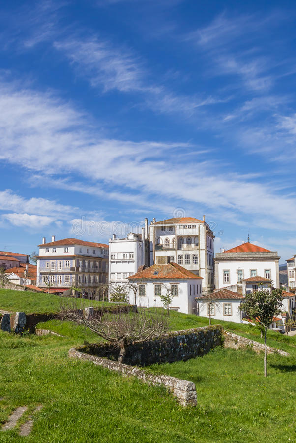 Fortified wall and houses in Valenca do Minho stock photo