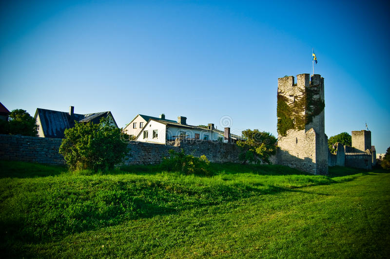 Download Fortified Wall With A Tower Stock Photo - Image of little, flag: 13019518