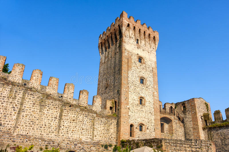 Fortified walls of Este castle ruin, Padua province , Veneto reg royalty free stock images
