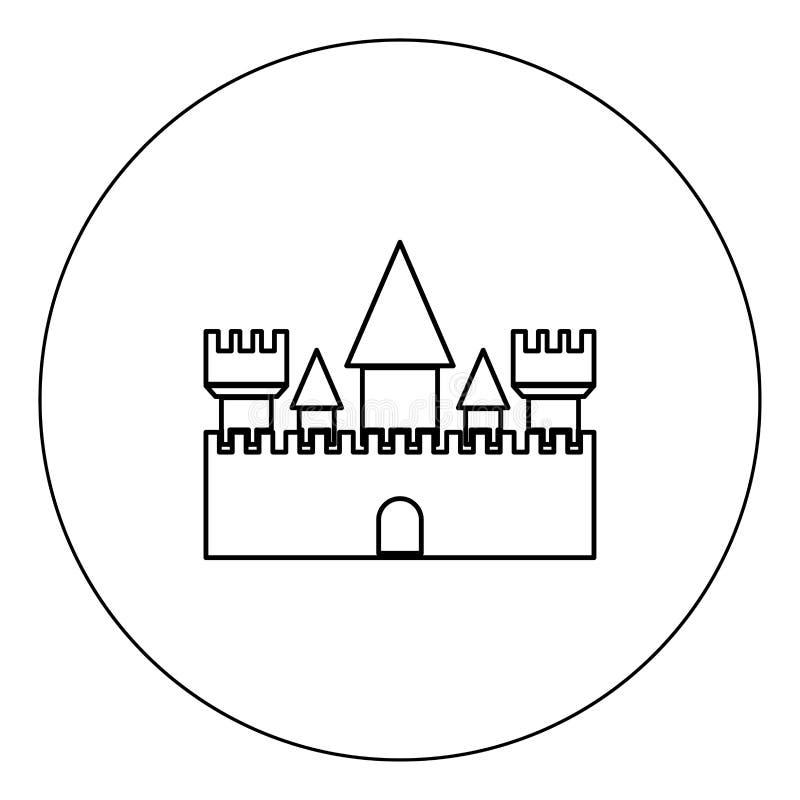 Fortifique a cor preta do ícone na ilustração do vetor do círculo isolada ilustração royalty free