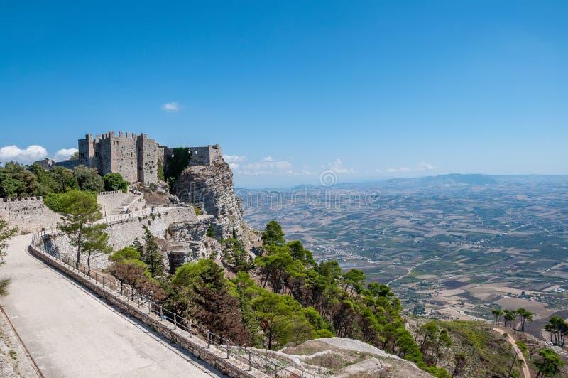 Fortifique em Erice, província de Trapani em Sicília fotografia de stock