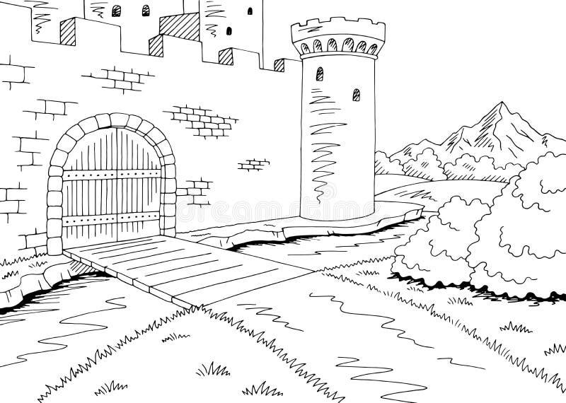Fortifique o vetor branco preto gráfico da ilustração do esboço da paisagem da porta ilustração stock