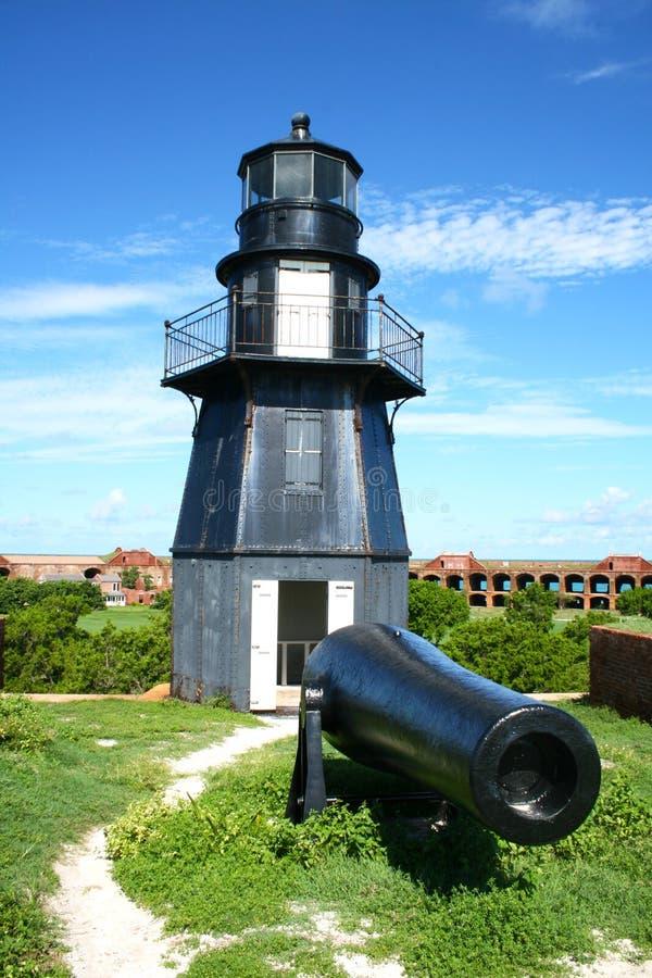 FortJefferson fyr och kanon, torra Tortugas, Florida arkivfoto