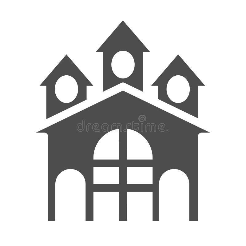 Fortkörperikone Schlossvektorillustration lokalisiert auf Weiß Bollwerk Glyph-Artdesign, bestimmt für Netz und APP lizenzfreie abbildung