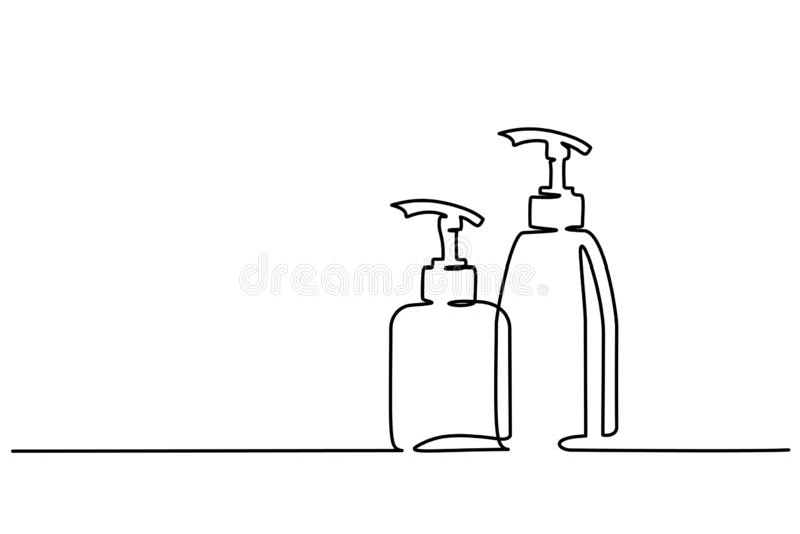 Fortlöpande en linje attraktion för kosmetiska schampoflaskor royaltyfri illustrationer