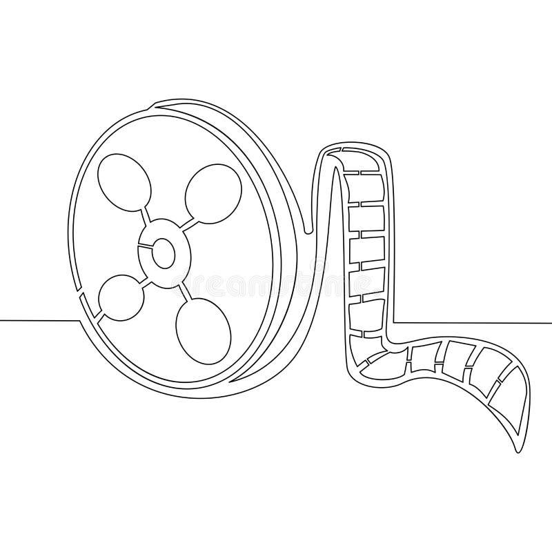 Fortlöpande en linje begrepp för filmbandvektor vektor illustrationer