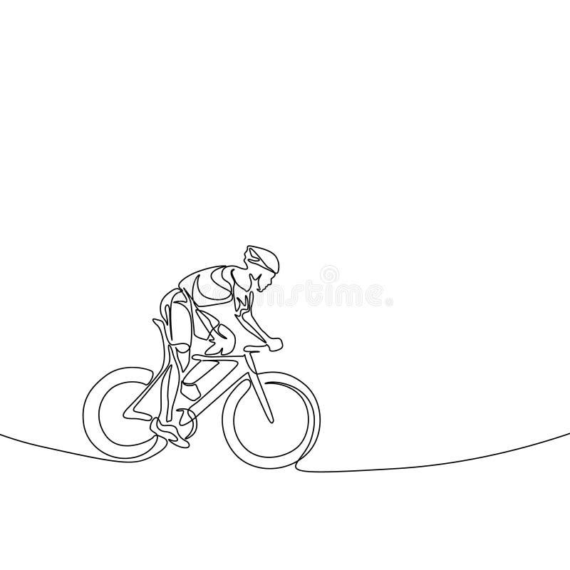 Fortlöpande en linje cyklist i en hjälm som rider en cykel royaltyfri illustrationer