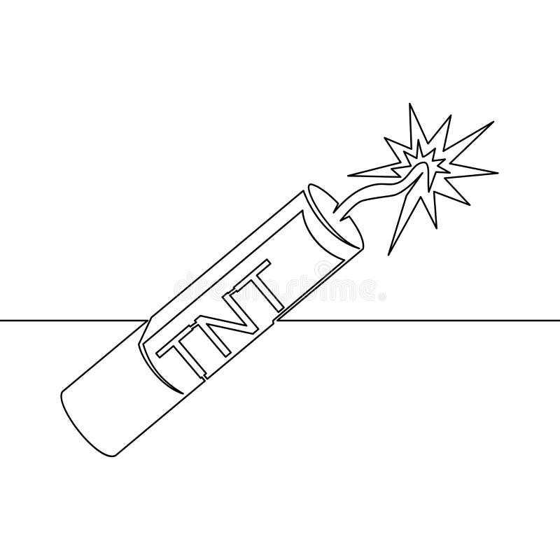 Fortlöpande en linje dragen dynamitlinje symbol TNT royaltyfri illustrationer