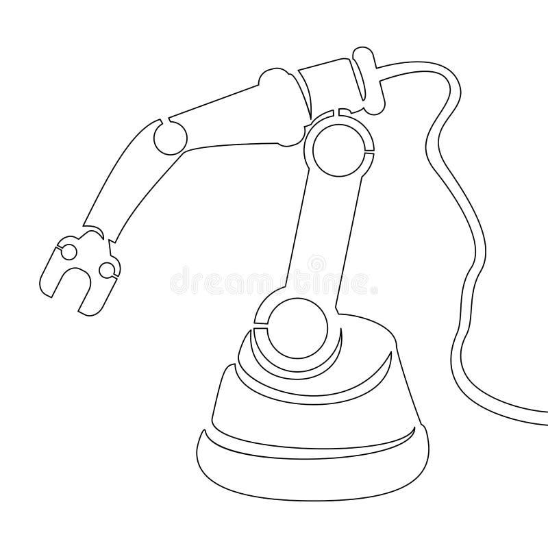 Fortlöpande en linje dragen robotic arm för vektor stock illustrationer