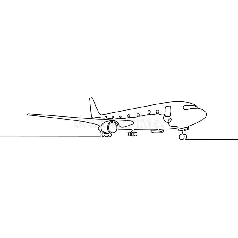 Fortlöpande en linje flygplan, vektorillustration vektor illustrationer
