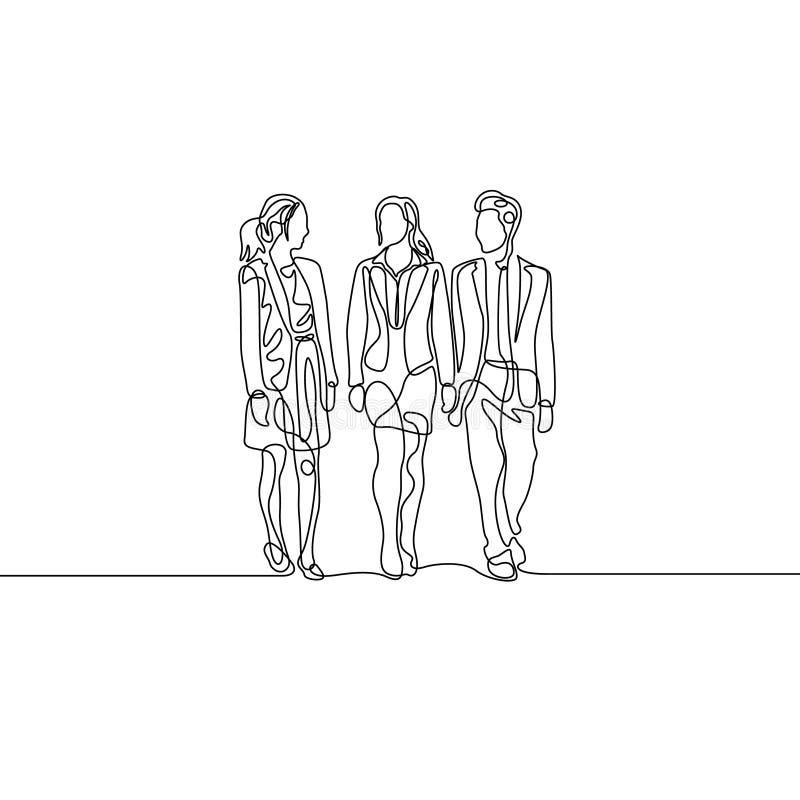 Fortlöpande en linje gruppbusinesspeople som talar om arbete royaltyfri illustrationer