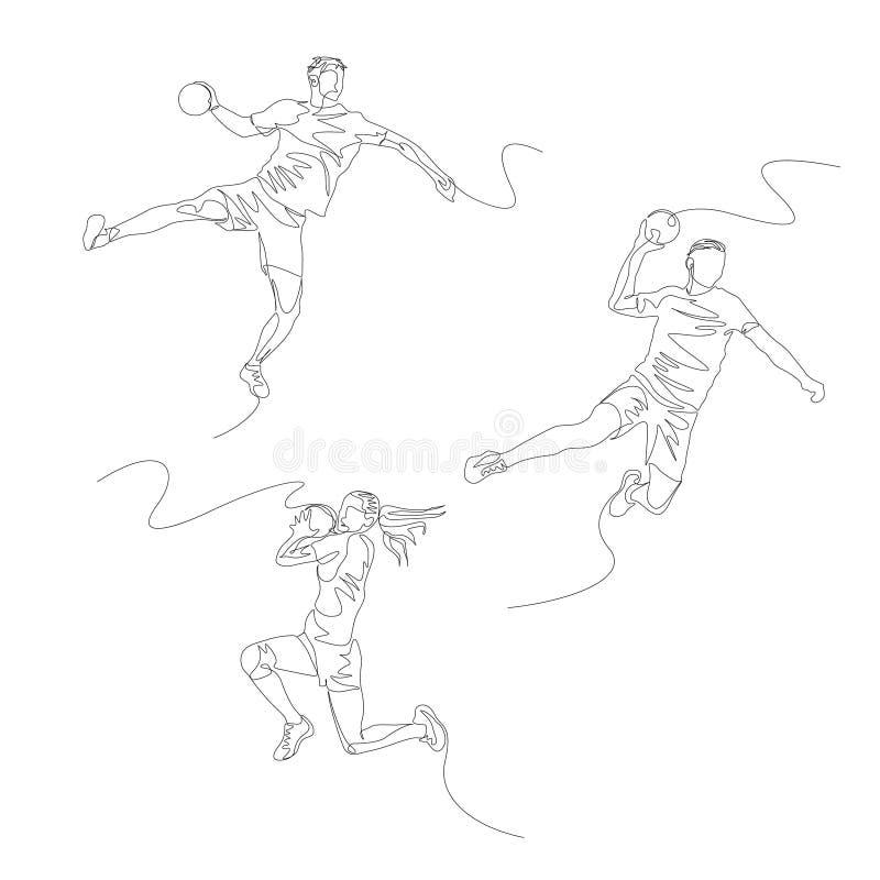 Fortlöpande en linje handbollspelareuppsättning SommarOS vektor vektor illustrationer