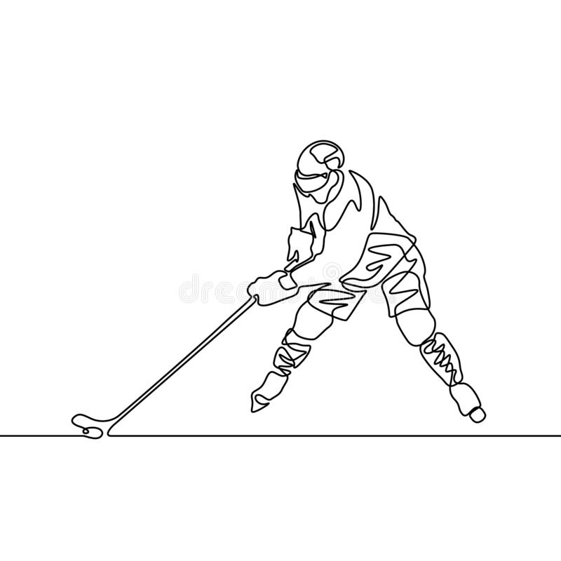 Fortlöpande en linje hockeyspelare, vektorillustration royaltyfri illustrationer