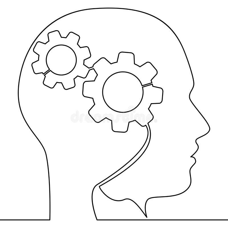 Fortlöpande en linje huvud av mannen med kugghjulbegrepp stock illustrationer