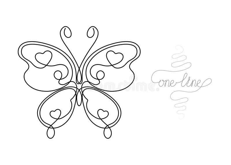 Fortlöpande en linje kryp för konstteckningsfjäril vektor illustrationer