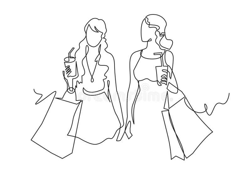 Fortlöpande en linje kvinna för teckning två med shoppingpåsar i deras händer stock illustrationer