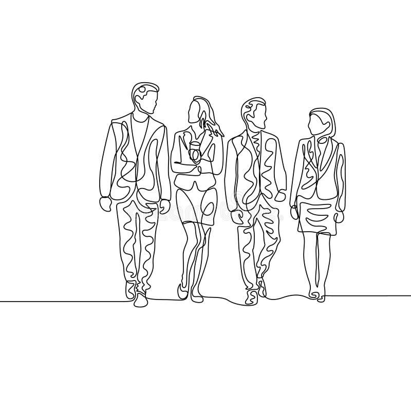 Fortlöpande en linje lag av businesspeople som diskuterar arbete stock illustrationer