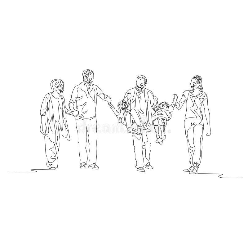 Fortlöpande en linje mång- utveckling för familj, föräldrar som svänger ungar stock illustrationer