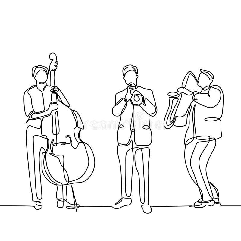 Fortlöpande en linje minimalist design för jazzmusikspelare för teckning av violoncellen, trumpeten och saxofonen som isoleras på vektor illustrationer