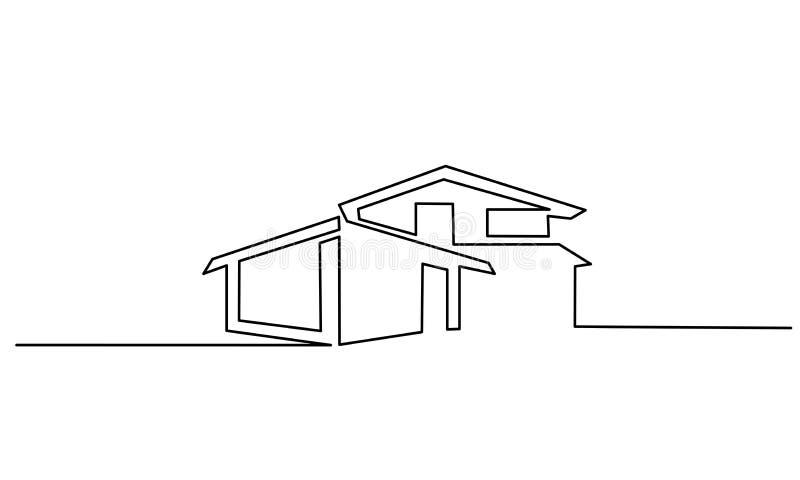 Fortlöpande en linje modern huslogo för teckning stock illustrationer