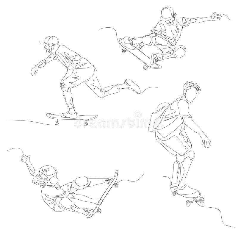 Fortlöpande en linje skateboradåkareuppsättning Skateboarding sommarOS vektor vektor illustrationer