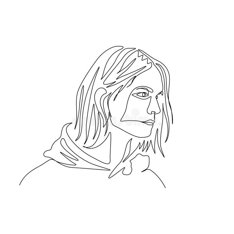 Fortlöpande en linje stående av mannen i hoody med långt hår konst stock illustrationer
