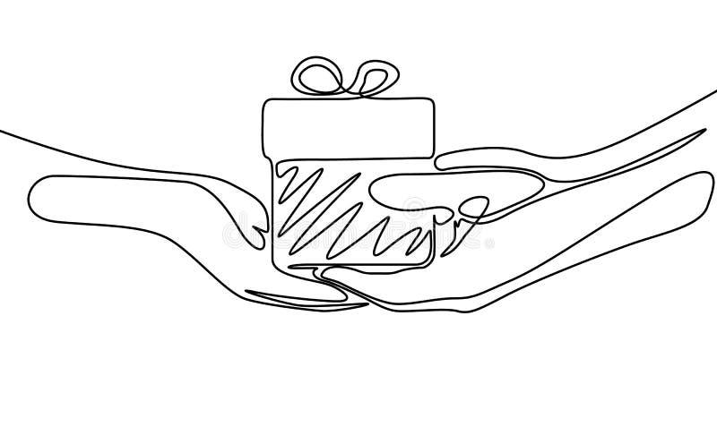 Fortlöpande en linje teckning att ge en gåva vektor vektor illustrationer