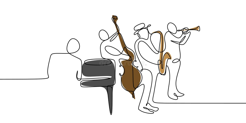 fortlöpande en linje teckning av designen för minimalsm för grupp för jazzspelaremusik royaltyfri illustrationer